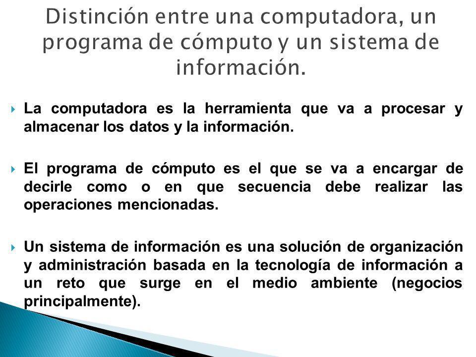 La computadora es la herramienta que va a procesar y almacenar los datos y la información. El programa de cómputo es el que se va a encargar de decirl