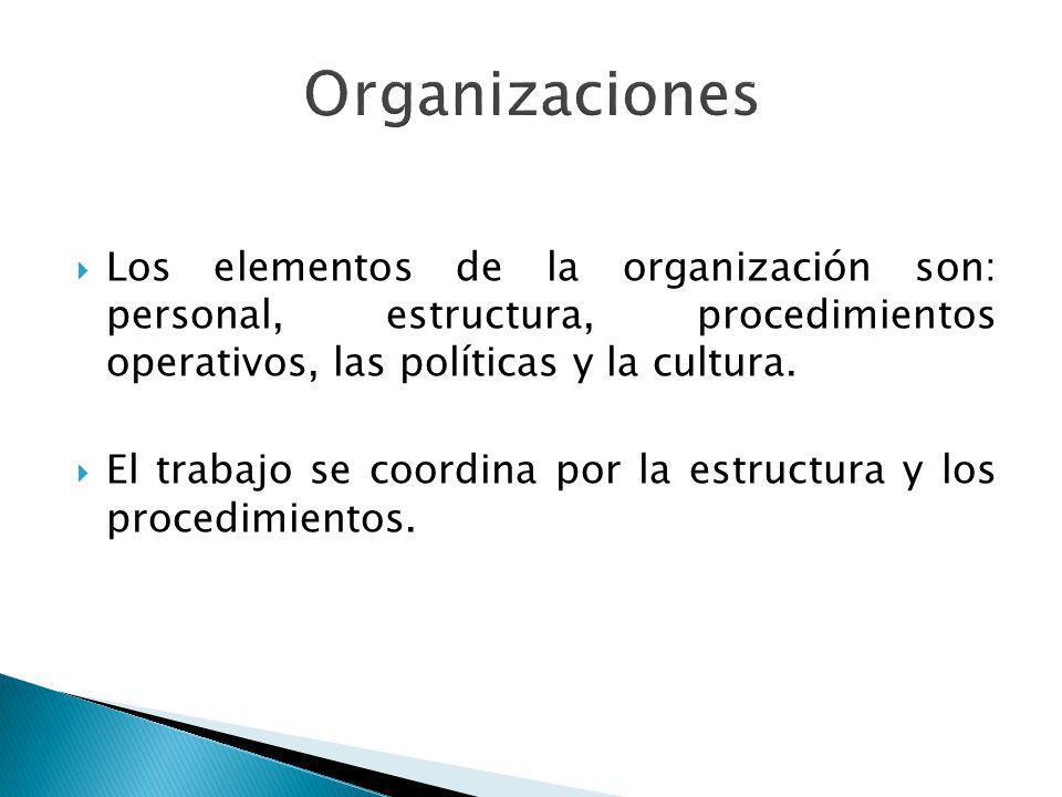 Los elementos de la organización son: personal, estructura, procedimientos operativos, las políticas y la cultura. El trabajo se coordina por la estru