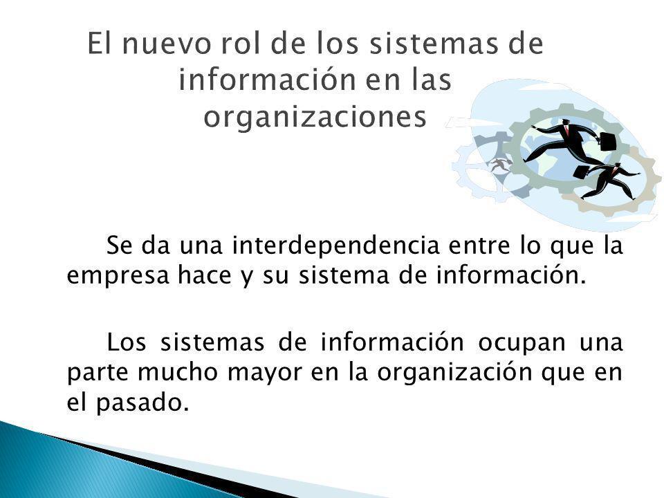 Se da una interdependencia entre lo que la empresa hace y su sistema de información. Los sistemas de información ocupan una parte mucho mayor en la or