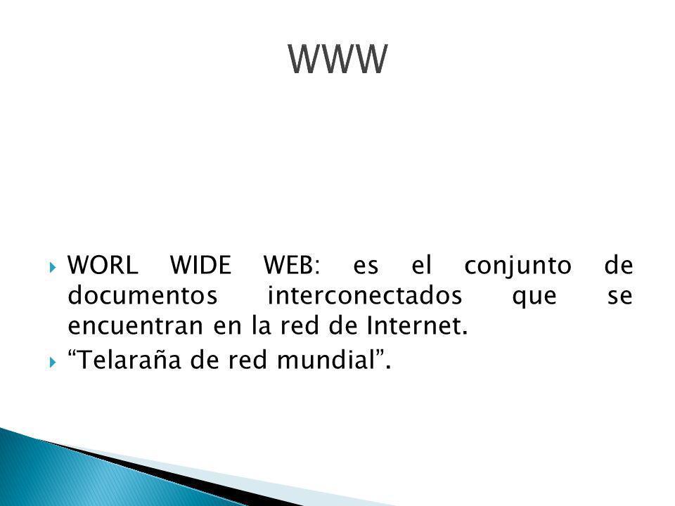 WORL WIDE WEB: es el conjunto de documentos interconectados que se encuentran en la red de Internet. Telaraña de red mundial.