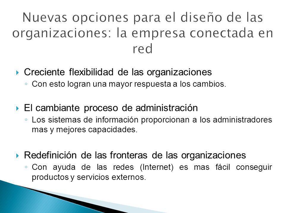 Creciente flexibilidad de las organizaciones Con esto logran una mayor respuesta a los cambios. El cambiante proceso de administración Los sistemas de