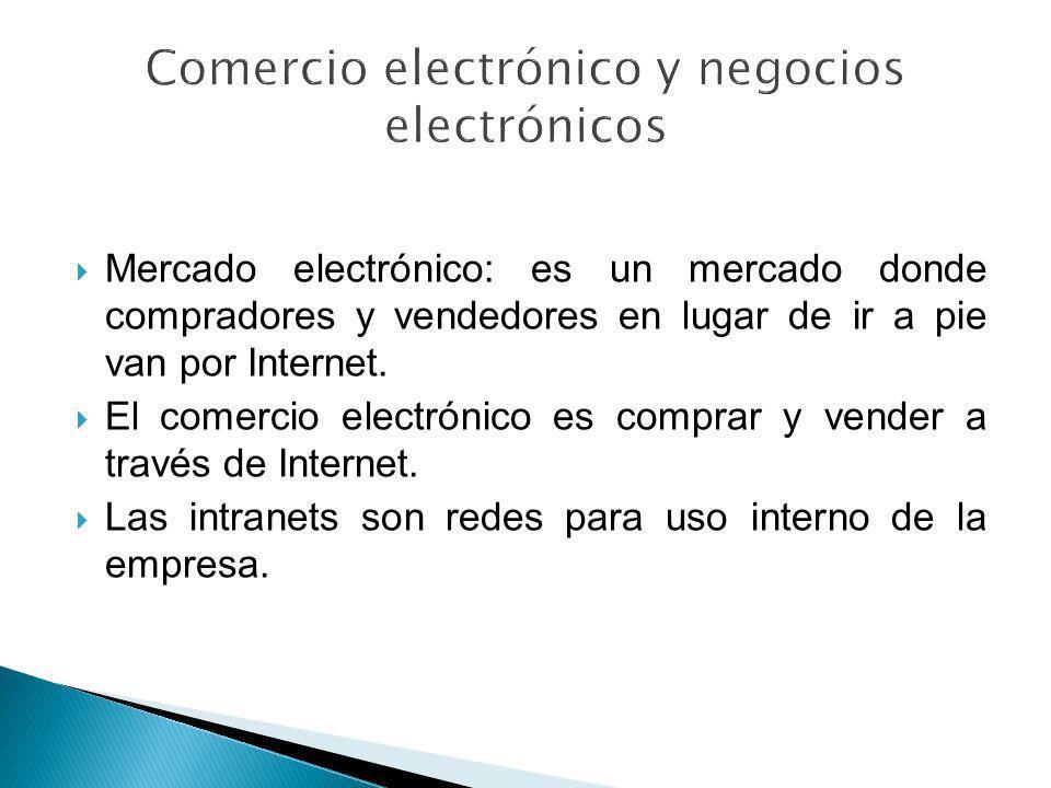 Mercado electrónico: es un mercado donde compradores y vendedores en lugar de ir a pie van por Internet. El comercio electrónico es comprar y vender a