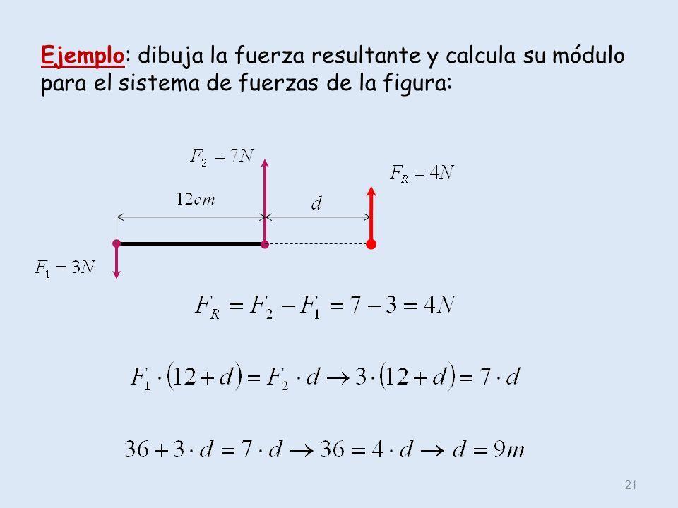 Ejemplo: dibuja la fuerza resultante y calcula su módulo para el sistema de fuerzas de la figura: 21