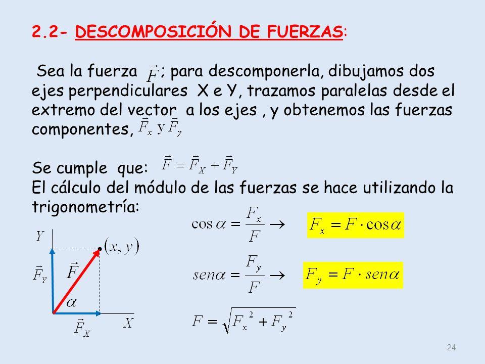 2.2- DESCOMPOSICIÓN DE FUERZAS: Sea la fuerza ; para descomponerla, dibujamos dos ejes perpendiculares X e Y, trazamos paralelas desde el extremo del