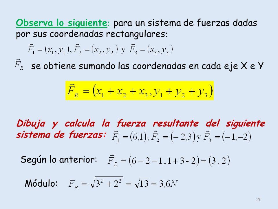 Observa lo siguiente : para un sistema de fuerzas dadas por sus coordenadas rectangulares : 26 se obtiene sumando las coordenadas en cada eje X e Y Di