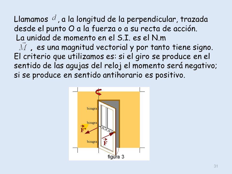 Llamamos, a la longitud de la perpendicular, trazada desde el punto O a la fuerza o a su recta de acción. La unidad de momento en el S.I. es el N.m, e