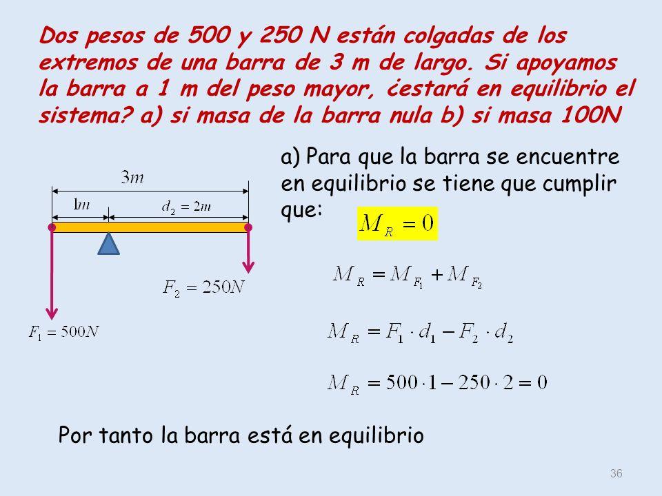 Dos pesos de 500 y 250 N están colgadas de los extremos de una barra de 3 m de largo. Si apoyamos la barra a 1 m del peso mayor, ¿estará en equilibrio