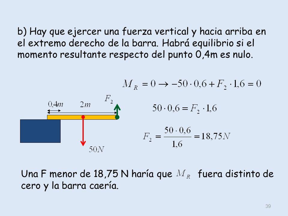 b) Hay que ejercer una fuerza vertical y hacia arriba en el extremo derecho de la barra. Habrá equilibrio si el momento resultante respecto del punto