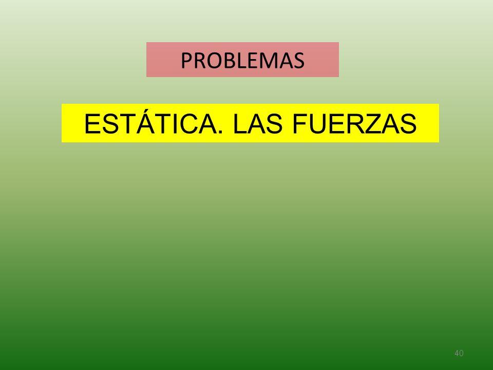 PROBLEMAS 40 ESTÁTICA. LAS FUERZAS