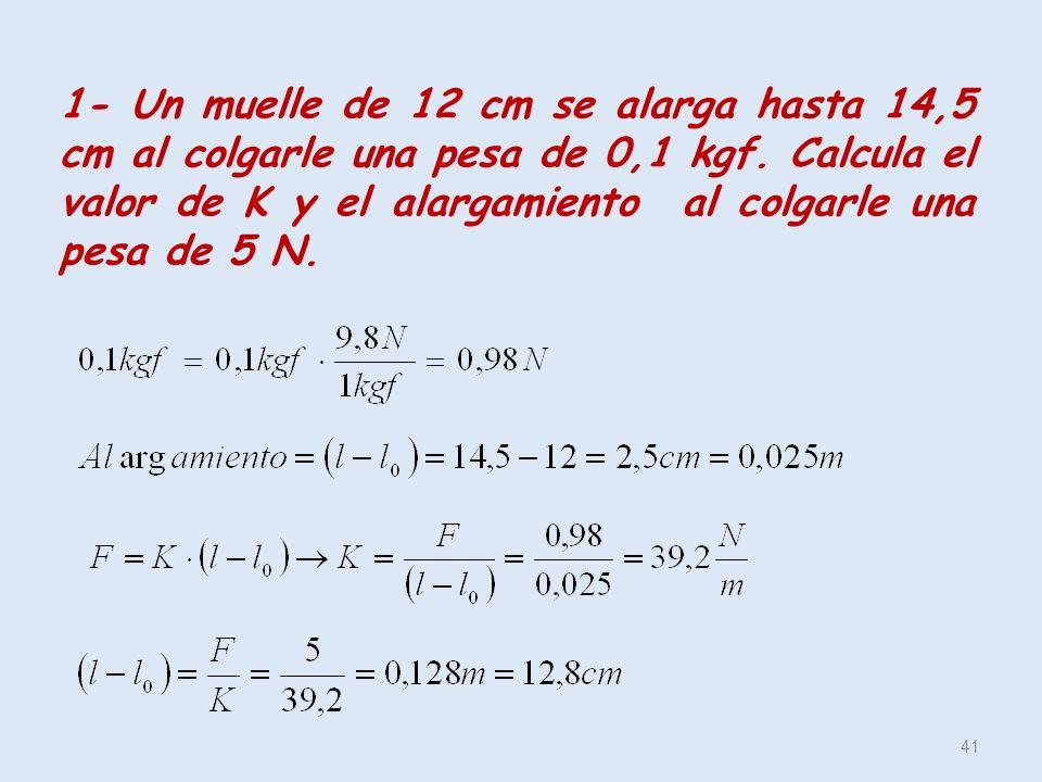 41 1- Un muelle de 12 cm se alarga hasta 14,5 cm al colgarle una pesa de 0,1 kgf. Calcula el valor de K y el alargamiento al colgarle una pesa de 5 N.