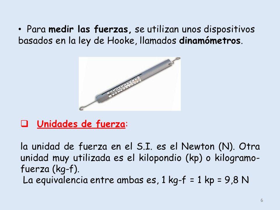 6 Para medir las fuerzas, se utilizan unos dispositivos basados en la ley de Hooke, llamados dinamómetros. Unidades de fuerza: la unidad de fuerza en