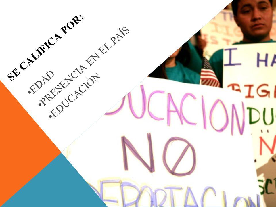 SE CALIFICA POR: EDAD PRESENCIA EN EL PAÍS EDUCACIÓN