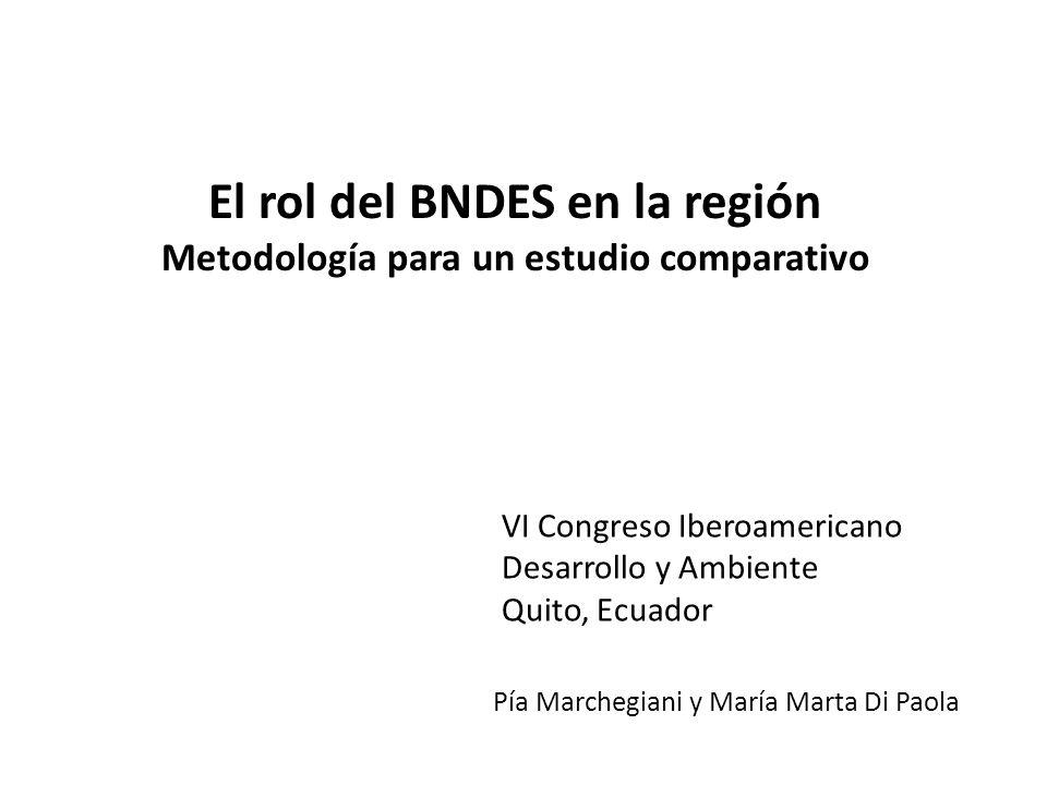 El rol del BNDES en la región Metodología para un estudio comparativo Pía Marchegiani y María Marta Di Paola VI Congreso Iberoamericano Desarrollo y Ambiente Quito, Ecuador