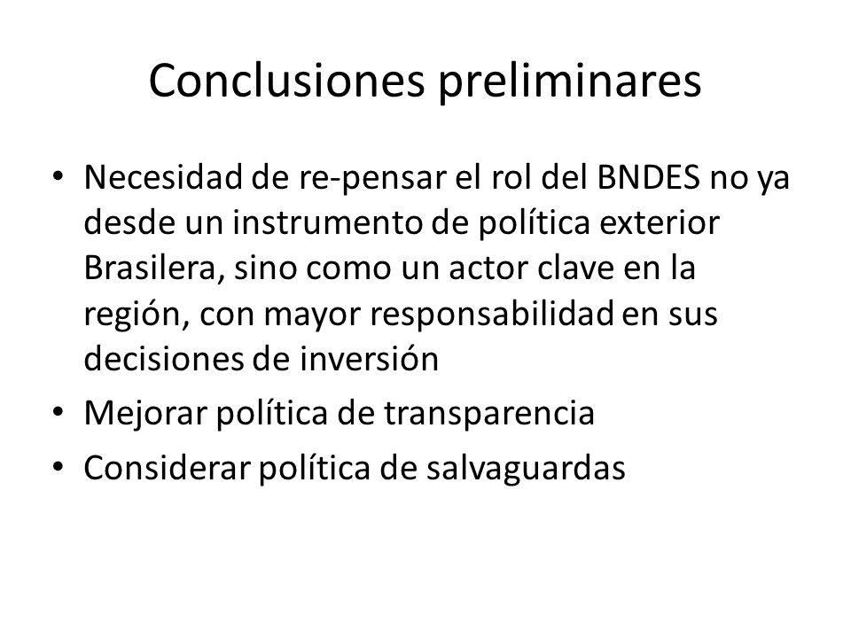 Conclusiones preliminares Necesidad de re-pensar el rol del BNDES no ya desde un instrumento de política exterior Brasilera, sino como un actor clave en la región, con mayor responsabilidad en sus decisiones de inversión Mejorar política de transparencia Considerar política de salvaguardas