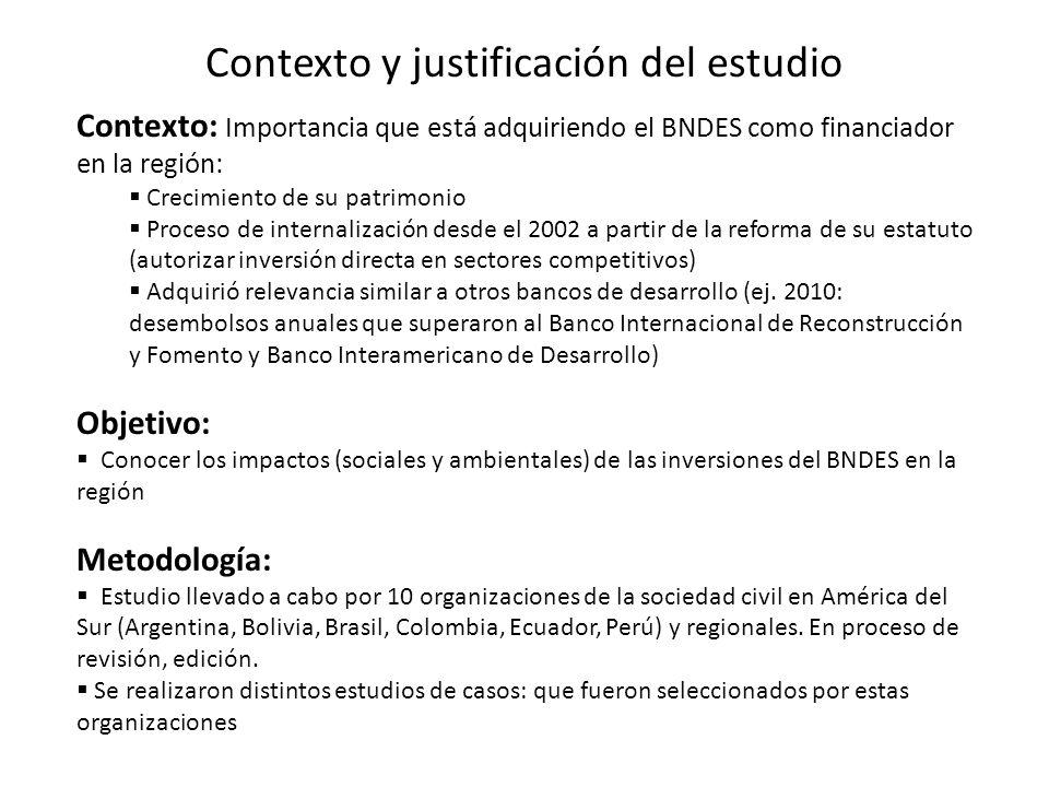 Contexto y justificación del estudio Contexto: Importancia que está adquiriendo el BNDES como financiador en la región: Crecimiento de su patrimonio Proceso de internalización desde el 2002 a partir de la reforma de su estatuto (autorizar inversión directa en sectores competitivos) Adquirió relevancia similar a otros bancos de desarrollo (ej.