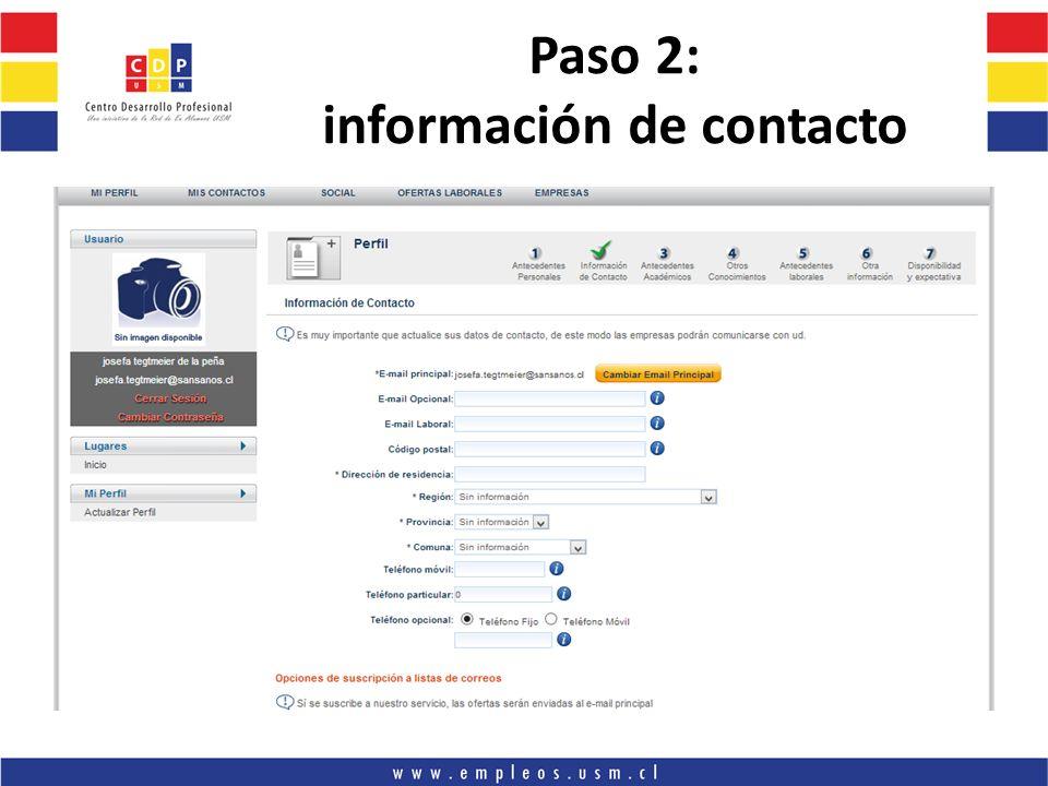 Paso 2: información de contacto