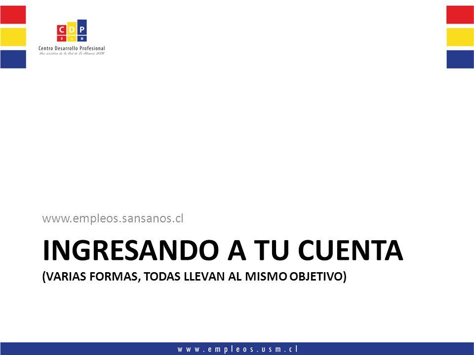 INGRESANDO A TU CUENTA (VARIAS FORMAS, TODAS LLEVAN AL MISMO OBJETIVO) www.empleos.sansanos.cl
