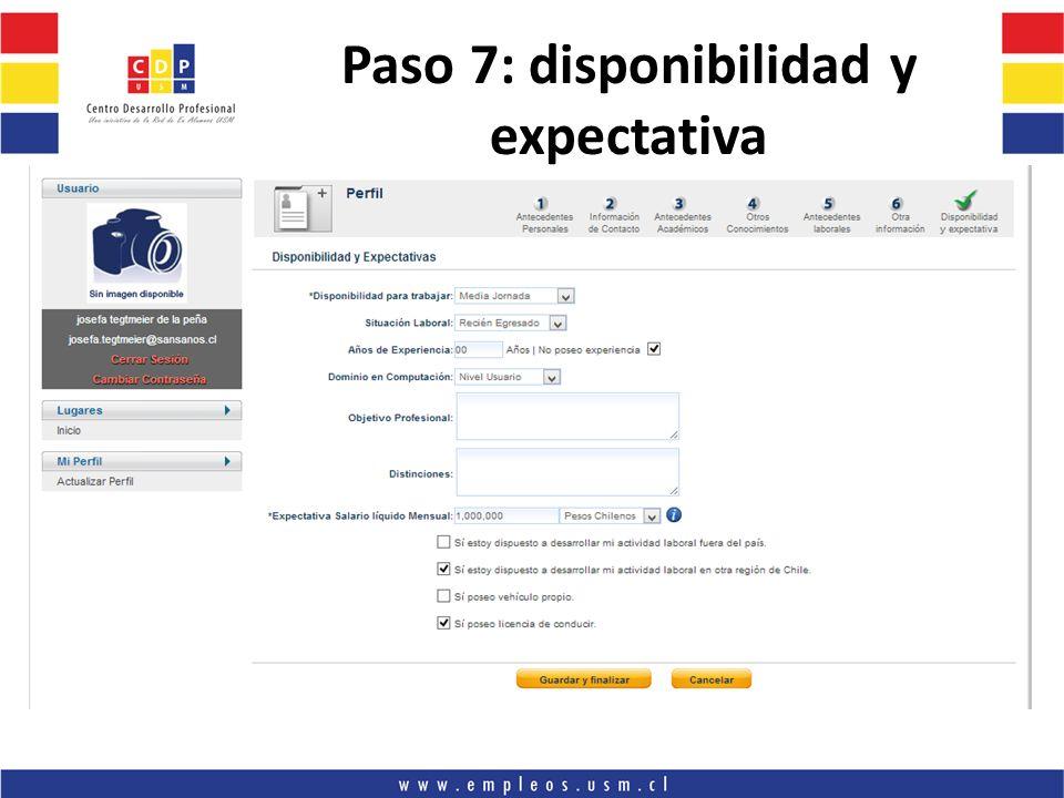 Paso 7: disponibilidad y expectativa