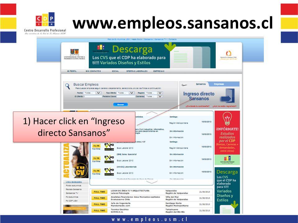 1) Hacer click en Ingreso directo Sansanos