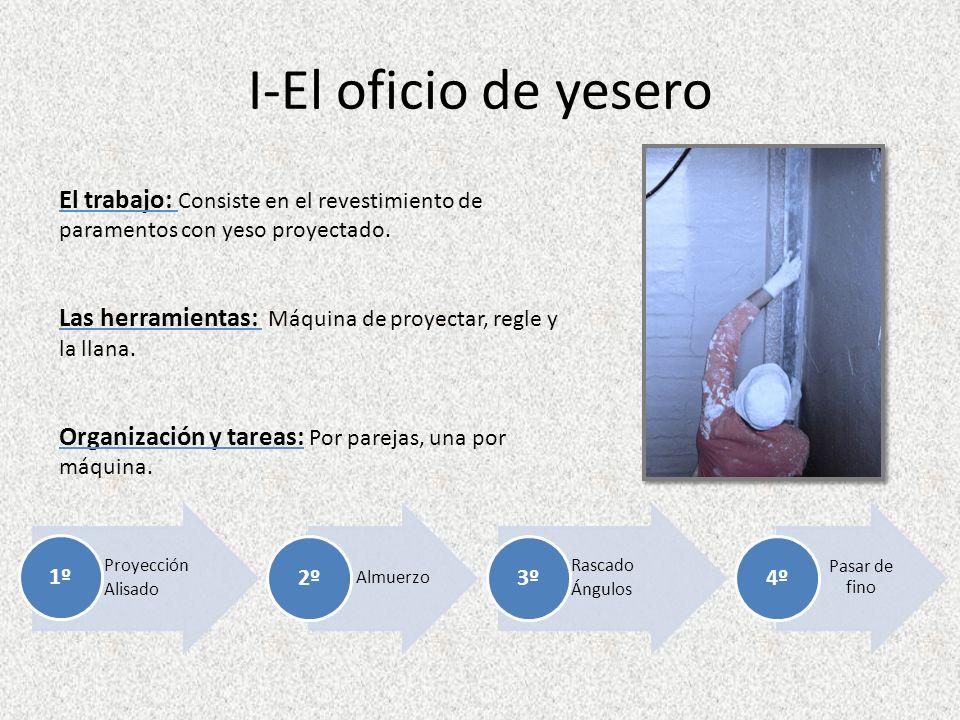 I-El oficio de yesero El trabajo: Consiste en el revestimiento de paramentos con yeso proyectado.