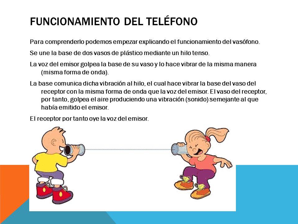 FUNCIONAMIENTO DEL TELÉFONO Para comprenderlo podemos empezar explicando el funcionamiento del vasófono. Se une la base de dos vasos de plástico media