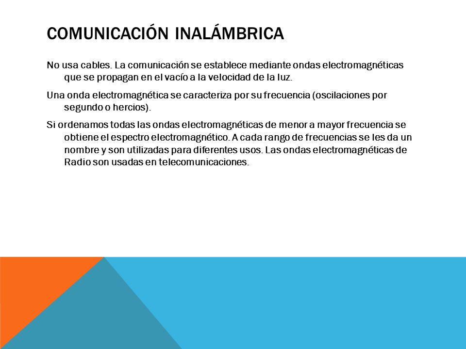 COMUNICACIÓN INALÁMBRICA No usa cables. La comunicación se establece mediante ondas electromagnéticas que se propagan en el vacío a la velocidad de la