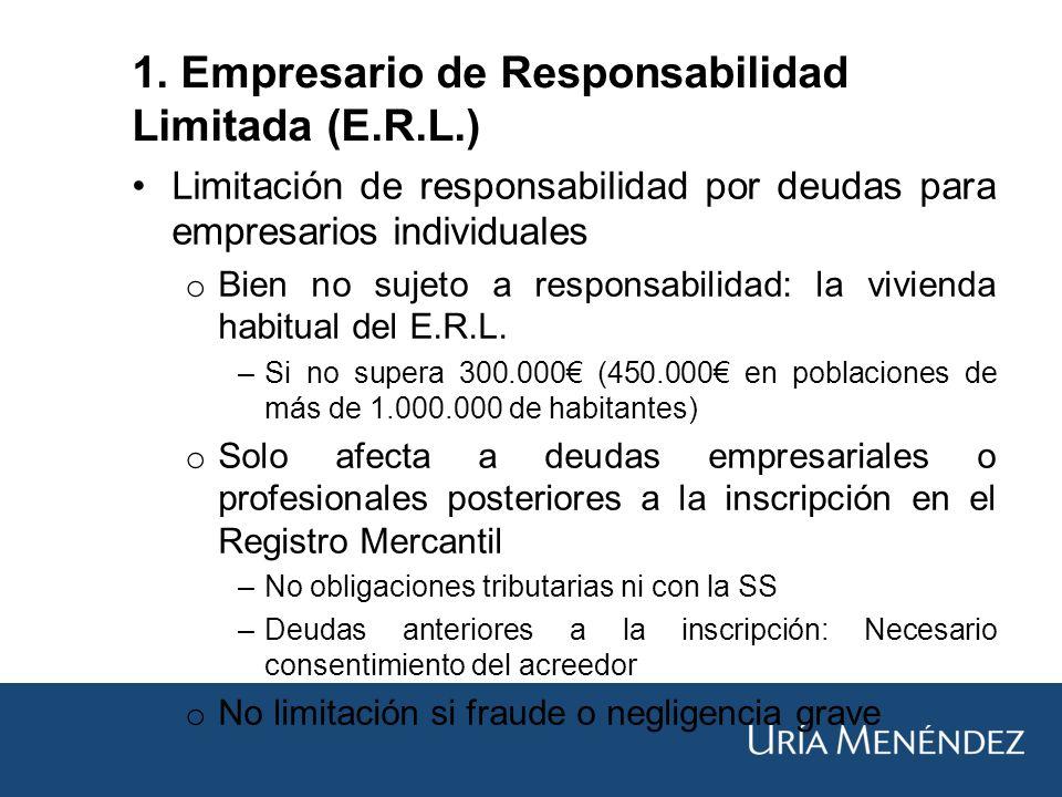 Limitación de responsabilidad por deudas para empresarios individuales o Bien no sujeto a responsabilidad: la vivienda habitual del E.R.L.