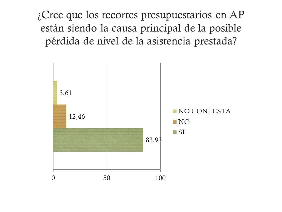 ¿Cree que los recortes presupuestarios en AP están siendo la causa principal de la posible pérdida de nivel de la asistencia prestada?