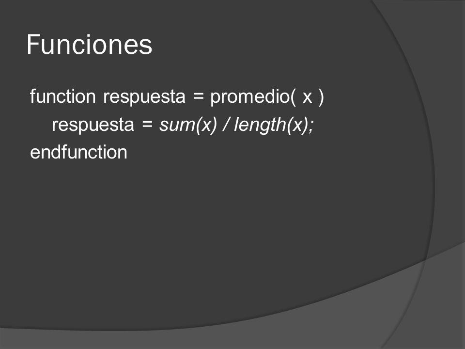 Funciones function respuesta = promedio( x ) respuesta = sum(x) / length(x); endfunction