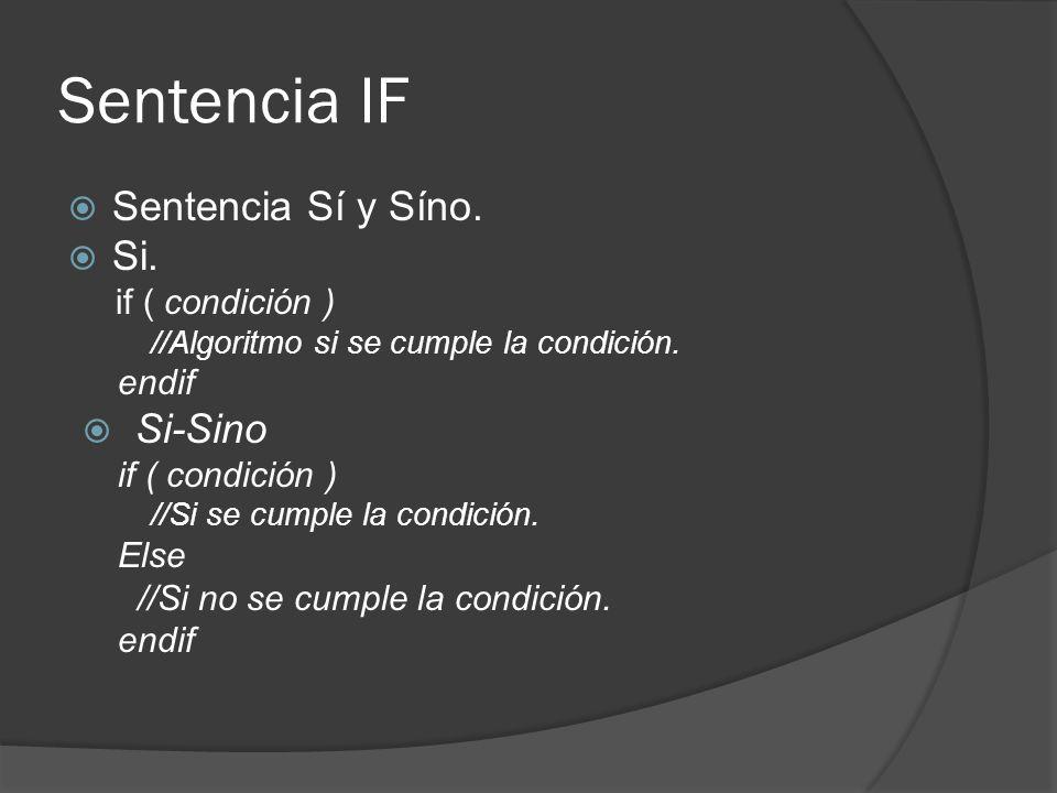 Sentencia IF Sentencia Sí y Síno. Si. if ( condición ) //Algoritmo si se cumple la condición.