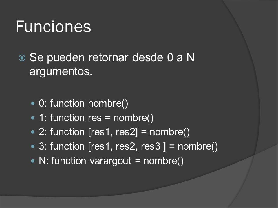 Funciones Se pueden retornar desde 0 a N argumentos.