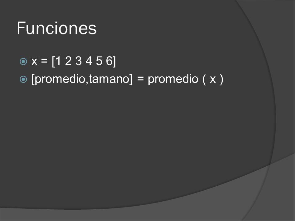 Funciones x = [1 2 3 4 5 6] [promedio,tamano] = promedio ( x )