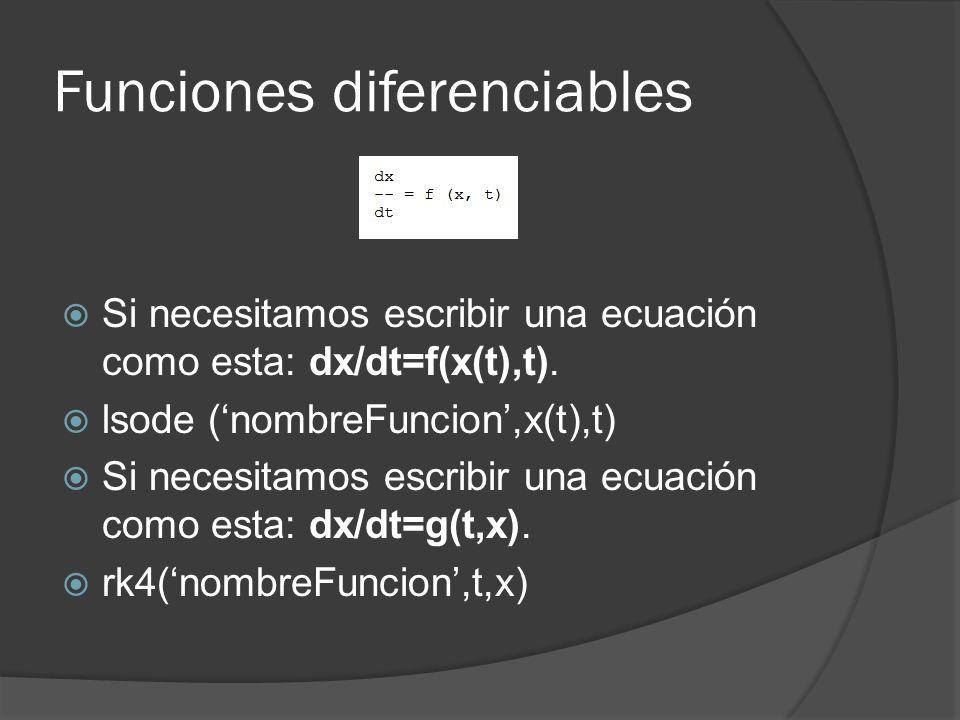 Funciones diferenciables Si necesitamos escribir una ecuación como esta: dx/dt=f(x(t),t).