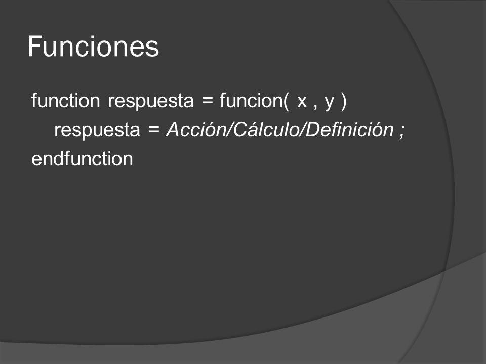 Funciones function respuesta = funcion( x, y ) respuesta = Acción/Cálculo/Definición ; endfunction