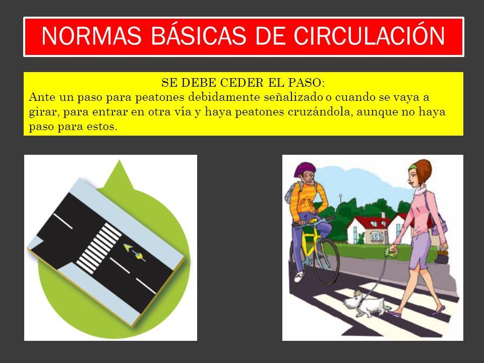 NORMAS BÁSICAS DE CIRCULACIÓN SE DEBE CEDER EL PASO: Ante un paso para peatones debidamente señalizado o cuando se vaya a girar, para entrar en otra v