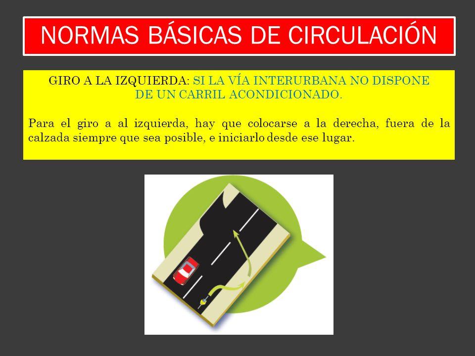 NORMAS BÁSICAS DE CIRCULACIÓN GIRO A LA IZQUIERDA: SI LA VÍA INTERURBANA NO DISPONE DE UN CARRIL ACONDICIONADO. Para el giro a al izquierda, hay que c