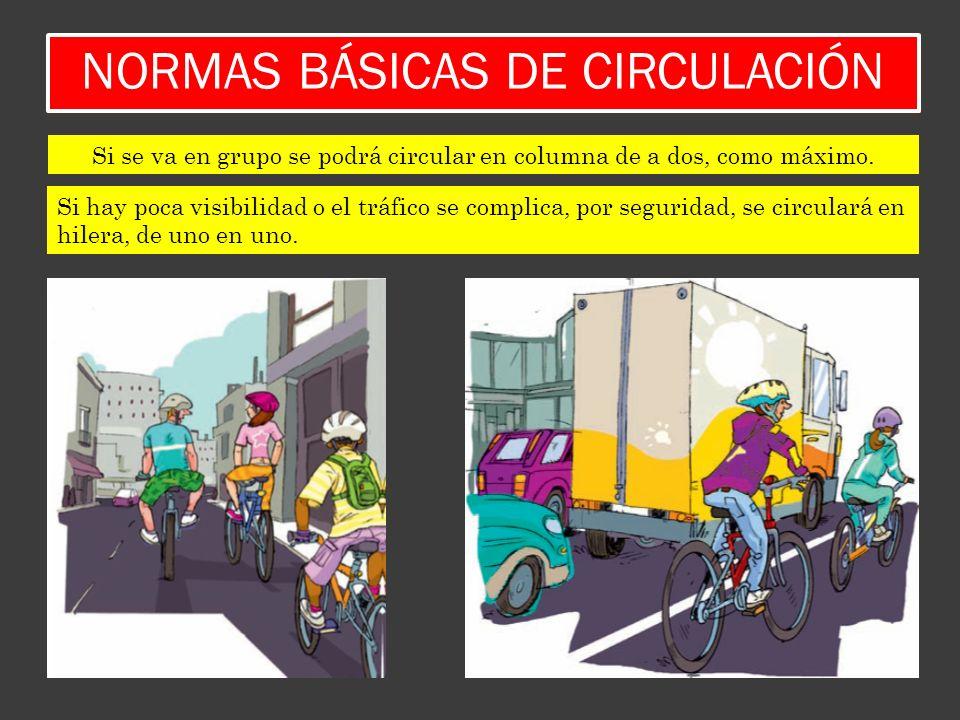 NORMAS BÁSICAS DE CIRCULACIÓN Si hay poca visibilidad o el tráfico se complica, por seguridad, se circulará en hilera, de uno en uno. Si se va en grup