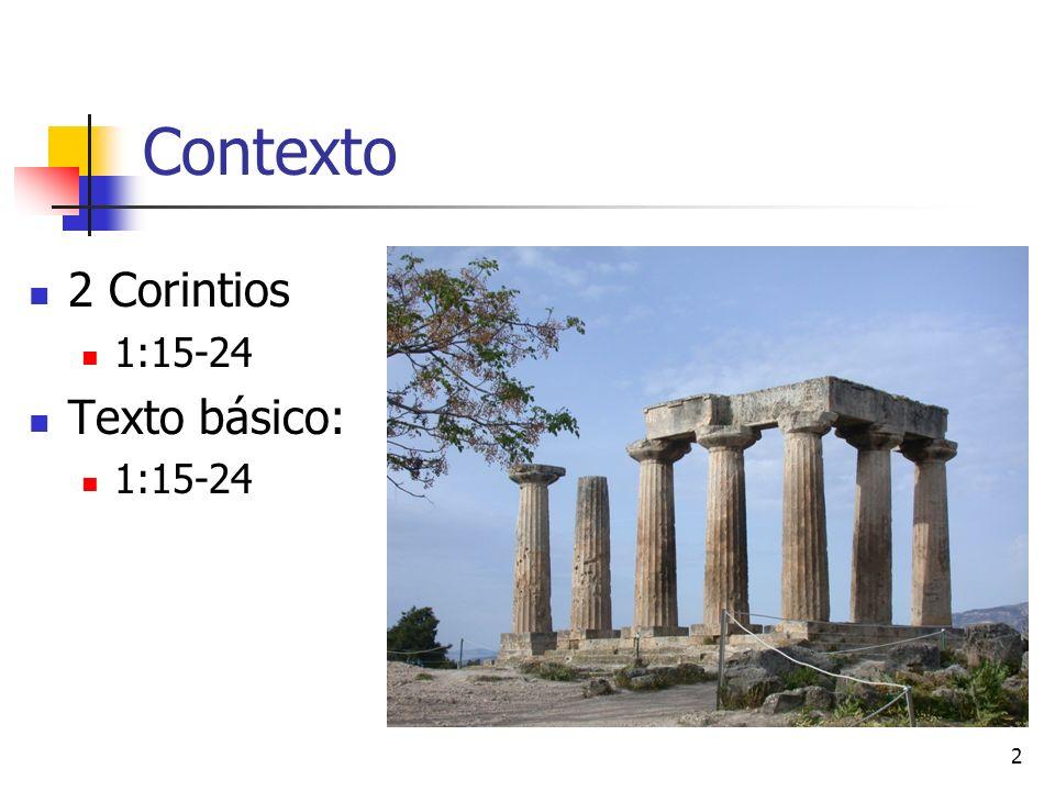 2 Contexto 2 Corintios 1:15-24 Texto básico: 1:15-24