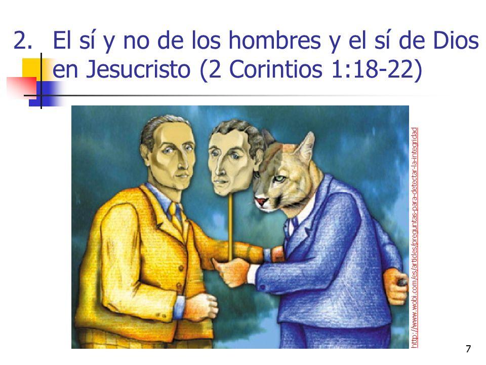2.El sí y no de los hombres y el sí de Dios en Jesucristo (2 Corintios 1:18-22) 77 http://www.wobi.com/es/articles/preguntas-para-detectar-la-integridad