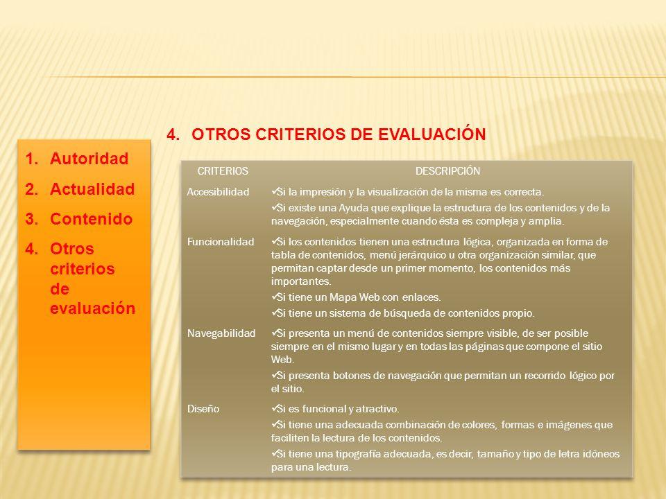 4.OTROS CRITERIOS DE EVALUACIÓN 1.Autoridad 2.Actualidad 3.Contenido 4.Otros criterios de evaluación