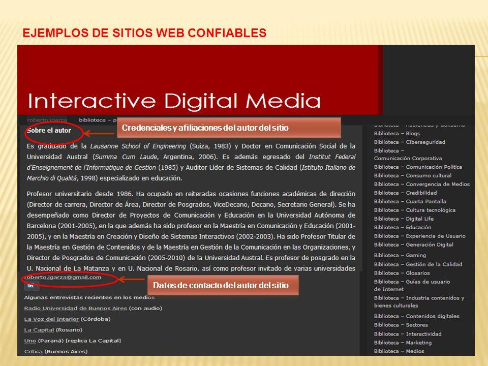 EJEMPLOS DE SITIOS WEB CONFIABLES Credenciales y afiliaciones del autor del sitio Datos de contacto del autor del sitio