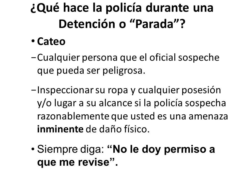 ¿Qué hace la policía durante una Detención o Parada.