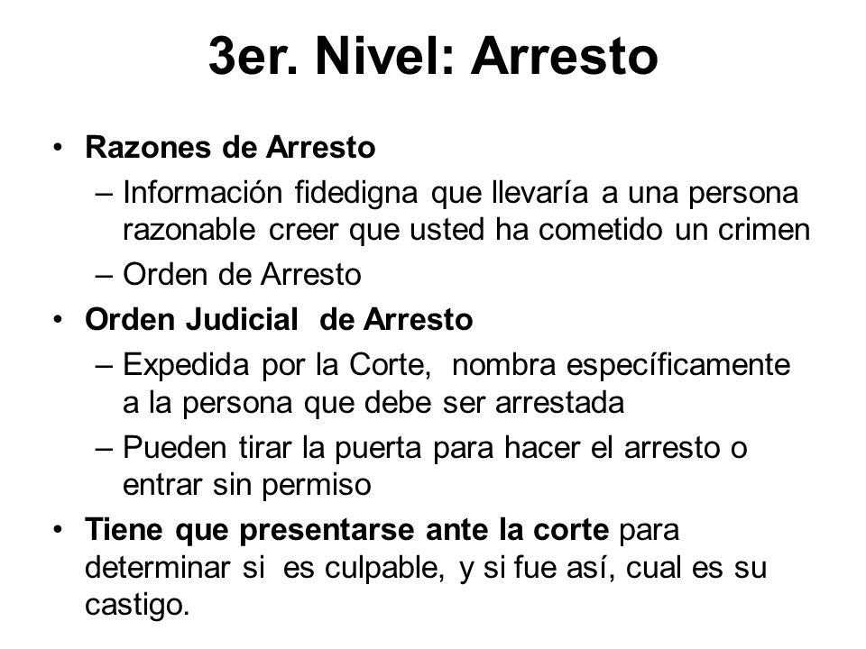 3er. Nivel: Arresto Razones de Arresto –Información fidedigna que llevaría a una persona razonable creer que usted ha cometido un crimen –Orden de Arr
