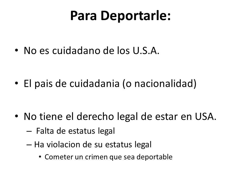 Para Deportarle: No es cuidadano de los U.S.A.