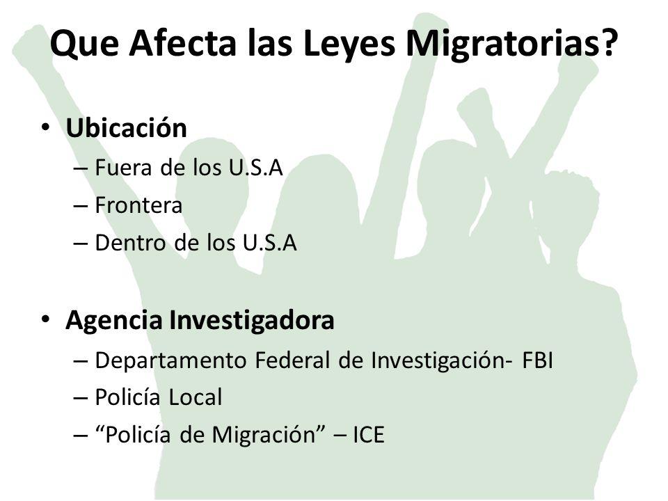Que Afecta las Leyes Migratorias.