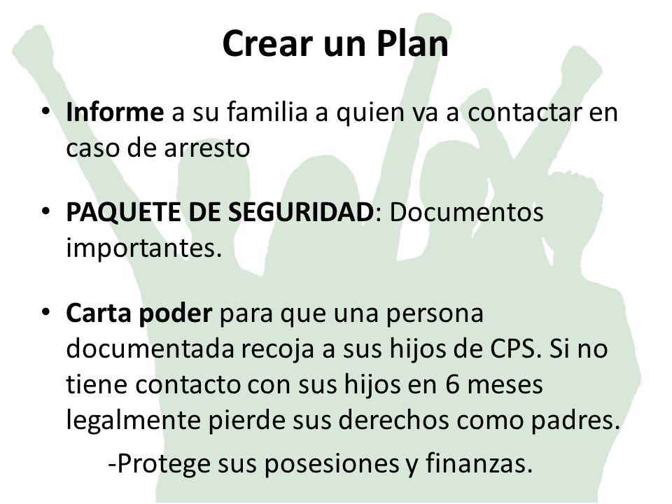 Crear un Plan Informe a su familia a quien va a contactar en caso de arresto PAQUETE DE SEGURIDAD: Documentos importantes.