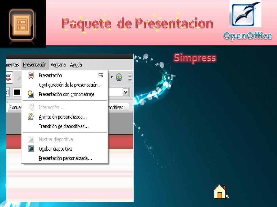El paquete de presentación de OpenOffice Simpress Normalmente es usado para mostrar Información, Generalmente atreves de Diapositivas.