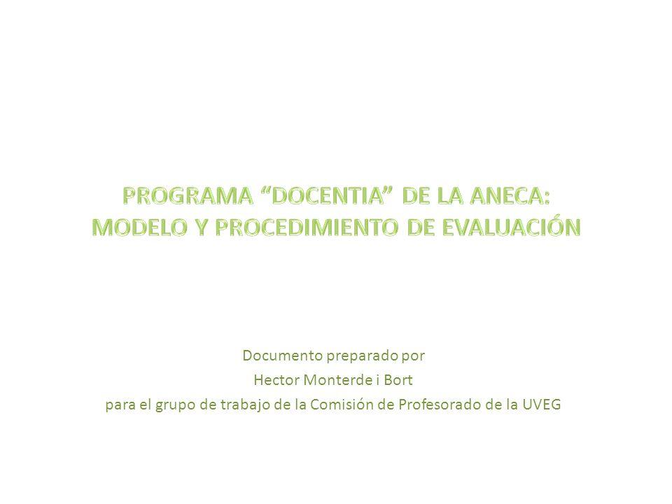 OBJETIVOS (que propongo) PARA ESTE GRUPO DE TRABAJO 26/09/2012 Hector Monterde i Bort 2 1)Ver lo que estrictamente pide la ANECA en su programa Docentia 2)Ver como preparar a nuestros profesores para que superen esos criterios.