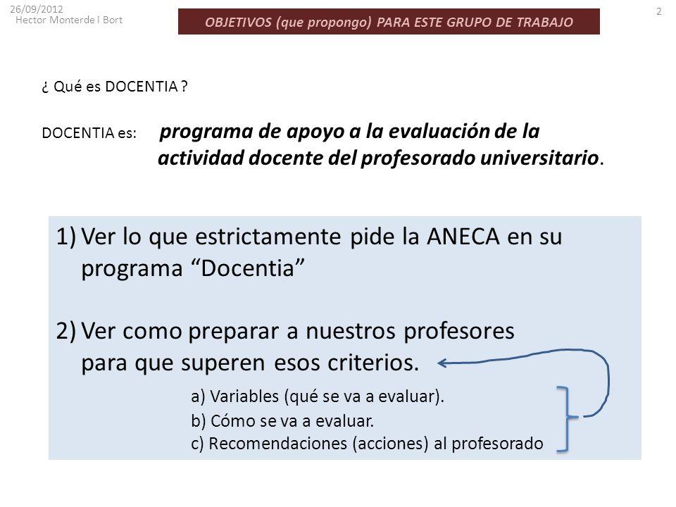 OBJETIVOS (que propongo) PARA ESTE GRUPO DE TRABAJO 26/09/2012 Hector Monterde i Bort 2 1)Ver lo que estrictamente pide la ANECA en su programa Docent