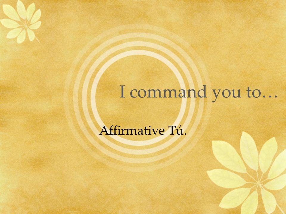 I command you to… Affirmative Tú.